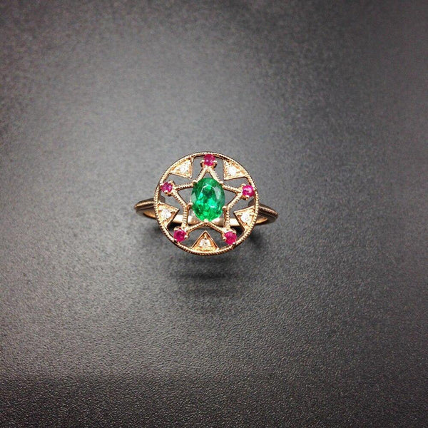 14K Rose Gold Oval Emerald & Ruby Ring