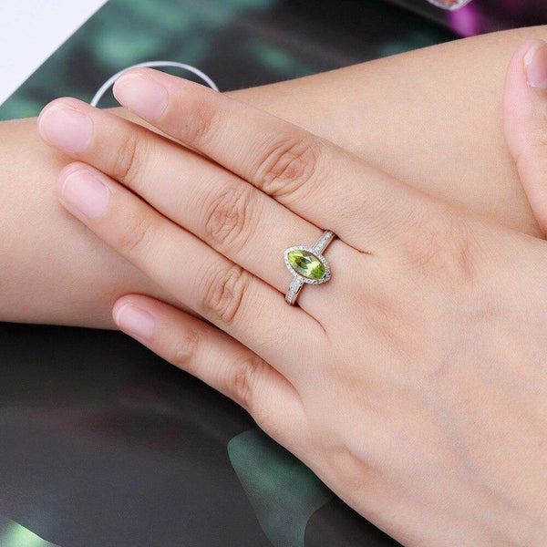 14K White Gold Marquise Peridot Ring