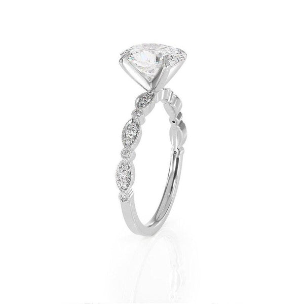 14K White Gold 1ct Oval Moissanite Ring - MEDUSA JEWELS