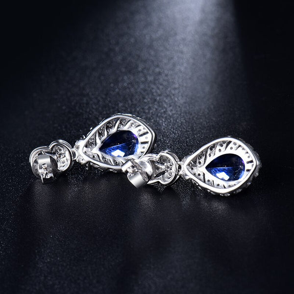 18K White Gold 3Ct Tanzanite & Diamonds Earrings - Medusa Jewels