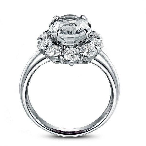 925 Sterling Silver 3Ct Oval Halo Ring