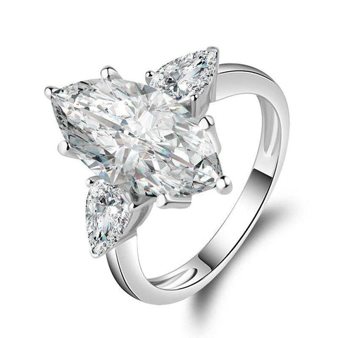 925 Sterling Silver 4.5Ct Marquise Cut Ring