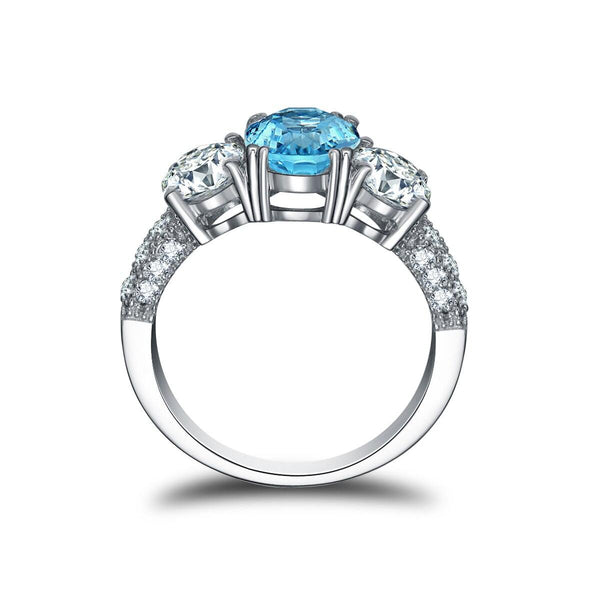 925 Sterling Silver 2Ct Oval Topaz Ring