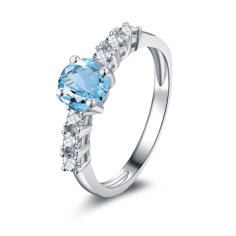 925 Sterling Silver 0.8Ct Blue Topaz Ring