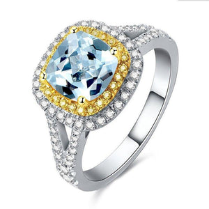 925 Sterling Silver 2.5Ct Cushion Topaz Ring