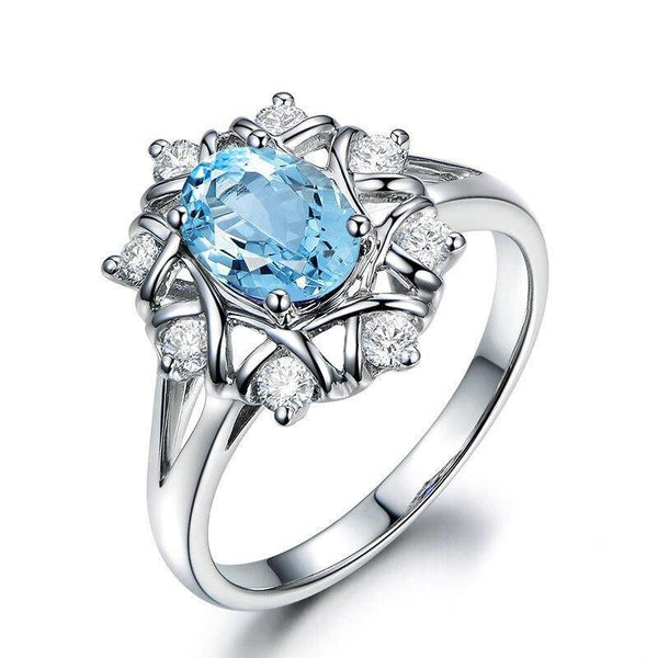 925 Sterling Silver 1.25Ct Blue Topaz Ring