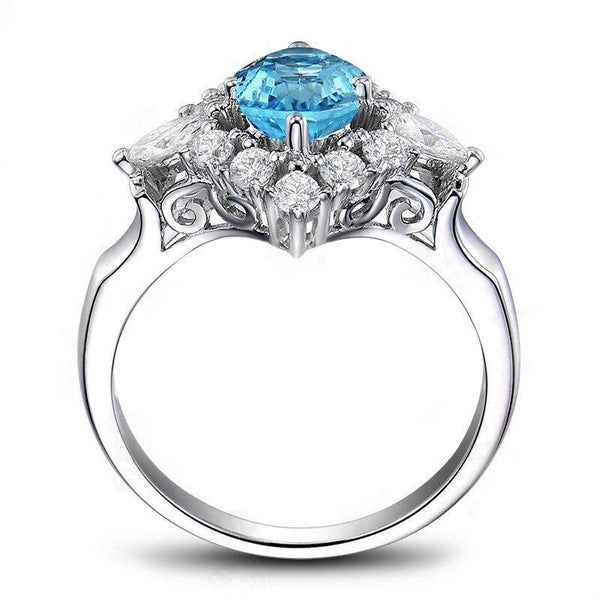 925 Sterling Silver 1.25Ct Oval Topaz Halo Ring