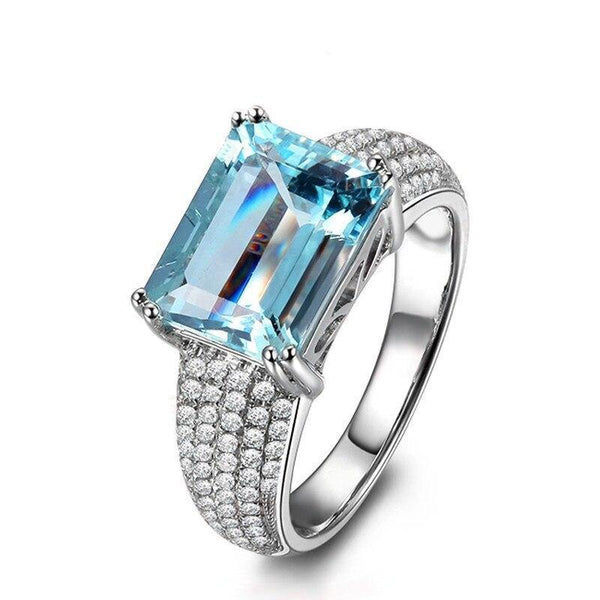 925 Sterling Silver 3Ct Emerald Cut Topaz Ring