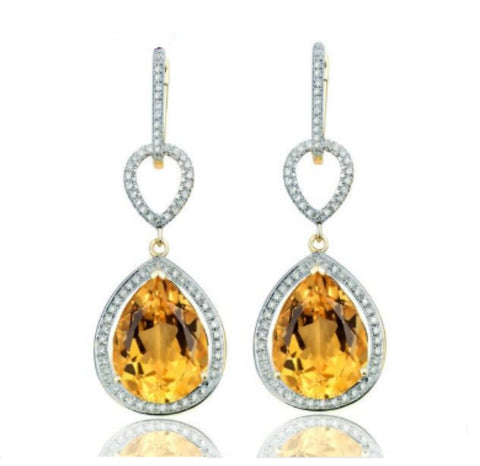 14K Yellow Gold 11.5Ct Citrine Earrings - Medusa Jewels