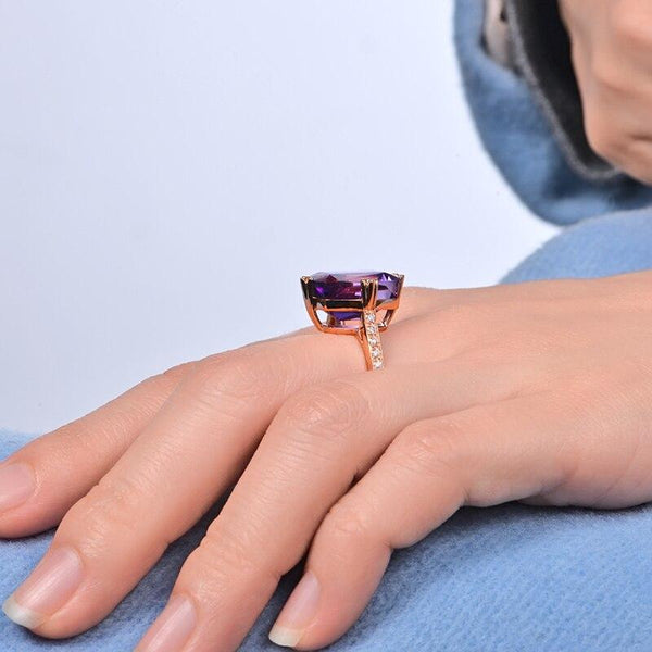 18kt Rose Gold 9.85ct Amethyst & 0.20ct Diamond Ring - Medusa Jewels