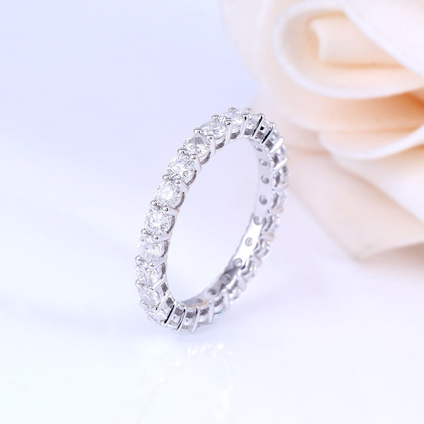 14K White Gold 1.2CT Moissanite Eternity Ring