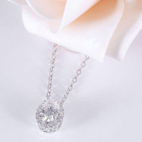 14K White Gold 1ct Oval Moissanite Halo Pendant