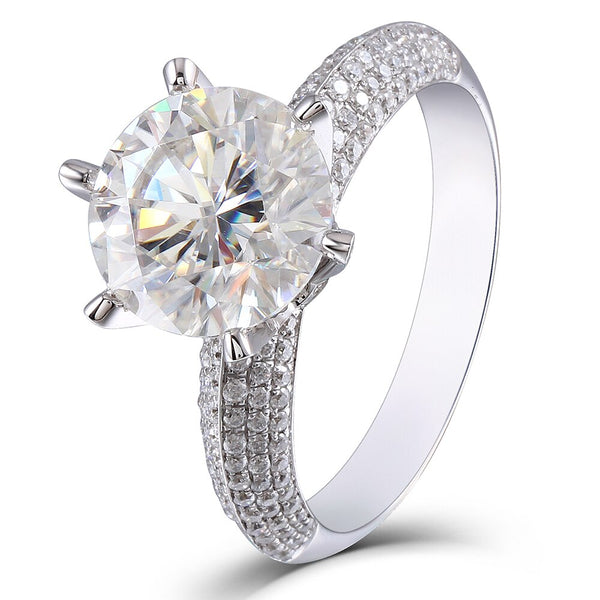 14K White Gold 5ct Moissanite Ring
