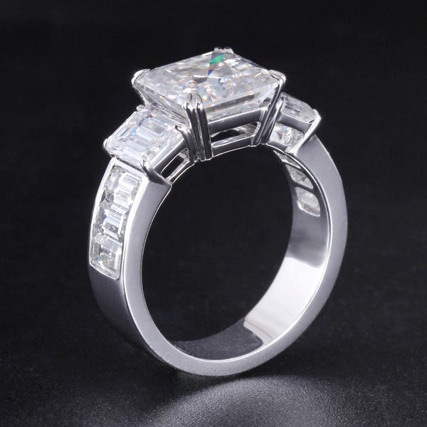 18K White Gold Asscher Moissanite Engagement Ring