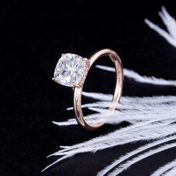 14K Rose Gold 1.5ct Cushion Moissanite Ring