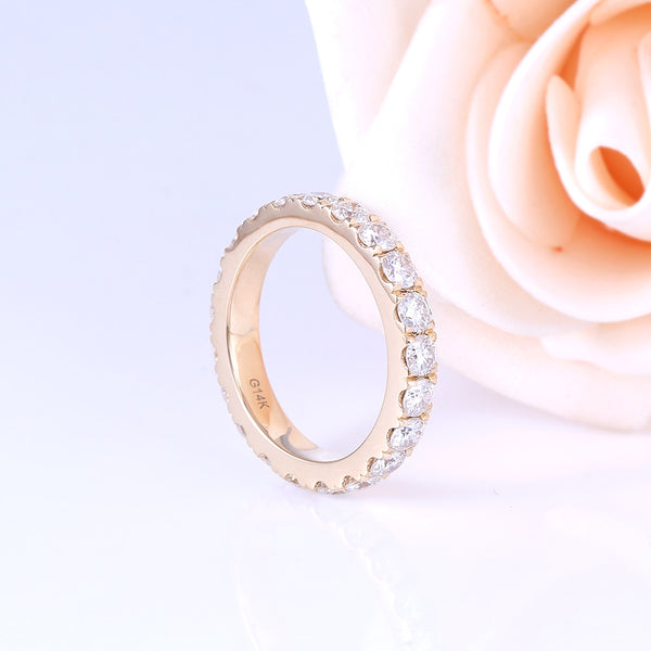 14K Yellow Gold Moissanite Eternity Band Ring