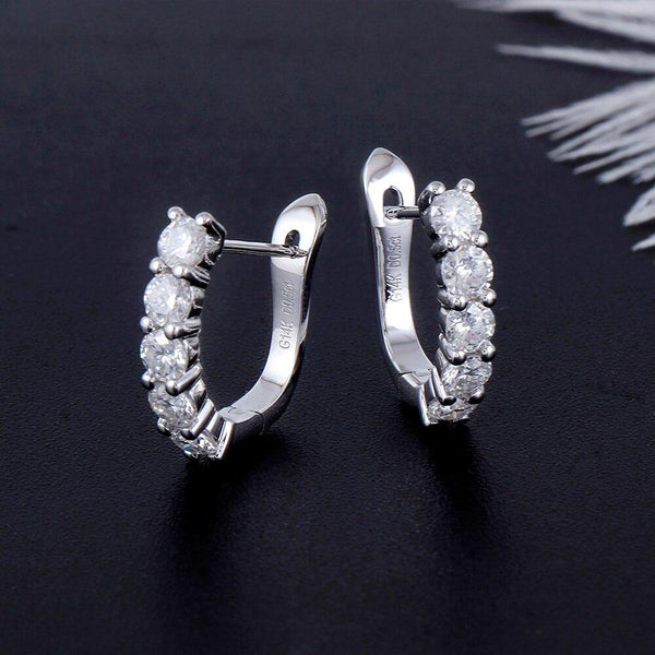 14k White Gold 1CT Moissanite Hoop Earrings