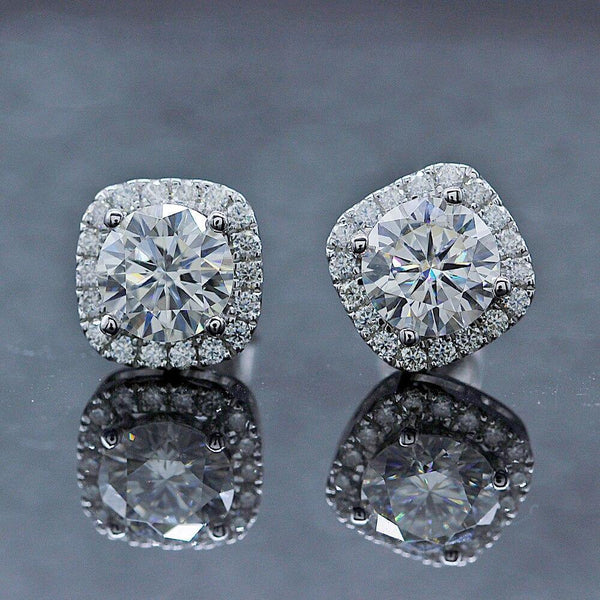 14K White Gold Round Moissanite Halo Stud Earrings