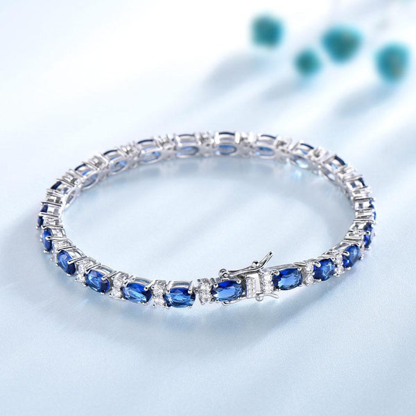 925 Sterling Silver Blue Sapphire Tennis Bracelet - Medusa Jewels