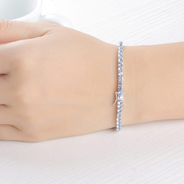 925 Sterling Silver Blue Topaz Bracelet - Medusa Jewels