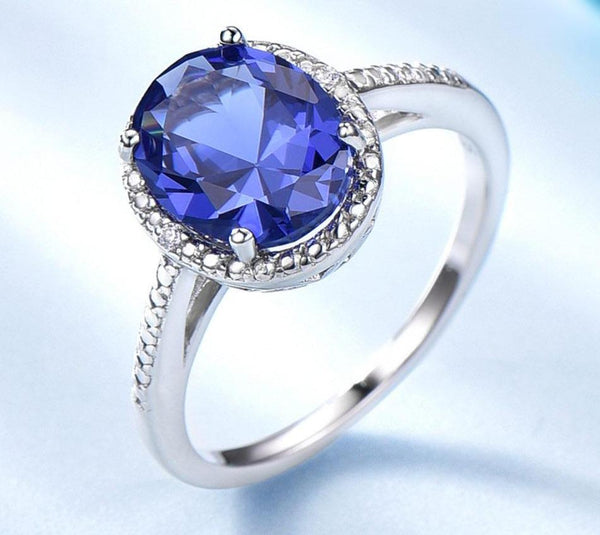 925 Sterling Silver Oval Tanzanite Ring - Medusa Jewels