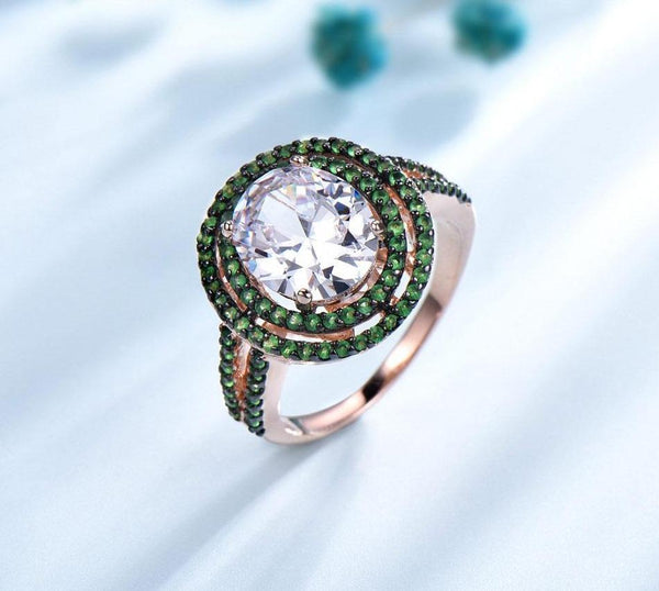 925 Sterling Silver Cubic Zircon & Emerald Ring - Medusa Jewels