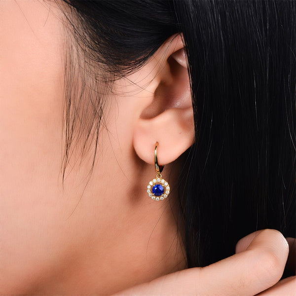 14K Yellow Gold 0.83ct Sapphires & Diamonds Earrings - Medusa Jewels