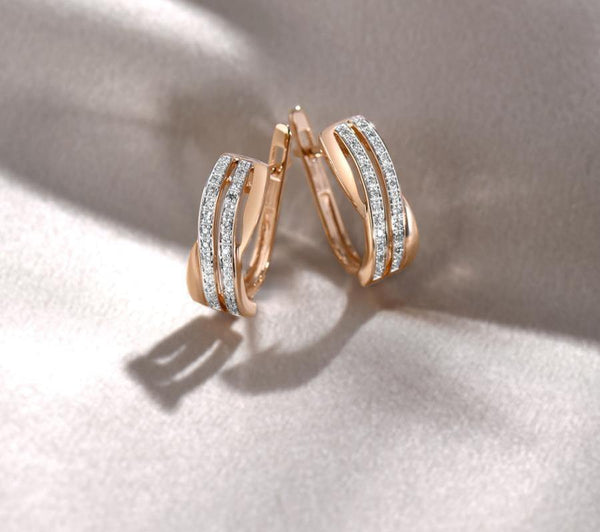 14K Rose Gold 0.1Ct Diamond Earrings