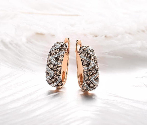 14K Rose Gold 0.8Ct Brown Diamond Earrings