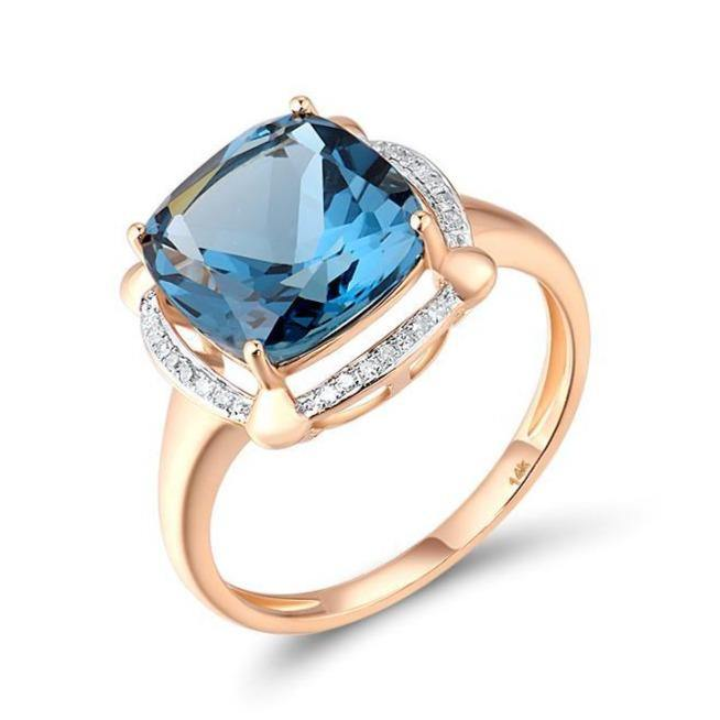 14K Rose Gold 5.65Ct London Blue Topaz Ring