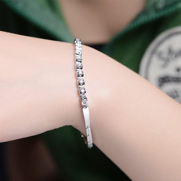 18K White Gold 0.40 CT Diamond Bracelet - Medusa Jewels