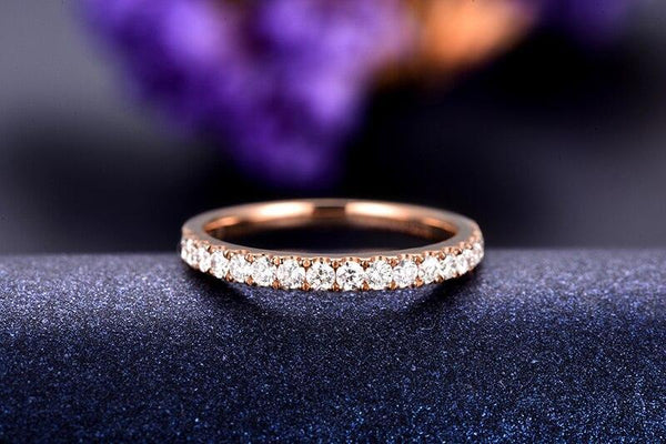 18K Rose Gold 0.45Ct Diamond Half Eternity Ring - Medusa Jewels