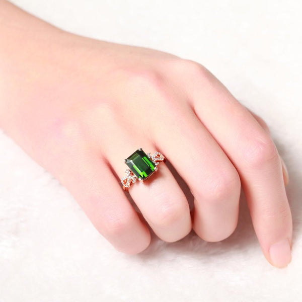 18K Rose Gold 4.0CT Green Tourmaline Emerald Cut Diamond Ring - Medusa Jewels