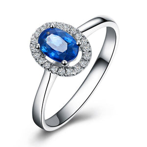 18K White Gold 0.7Ct Sapphire Halo Ring