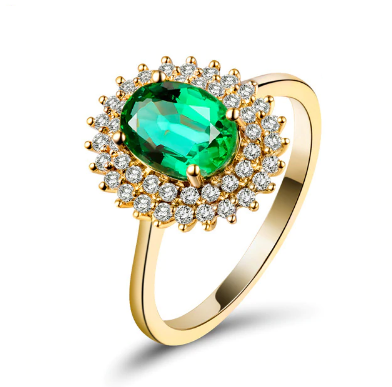 18K Yellow Gold 1.22Ct Emerald & Diamonds Ring - Medusa Jewels