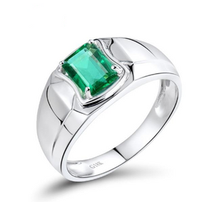 18K White Gold 1.18Ct Emerald Ring - Medusa Jewels