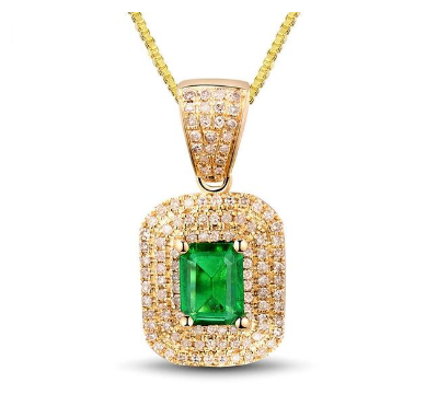 14KT Yellow Gold Gorgeous Emerald Gemstone Pendant - Medusa Jewels