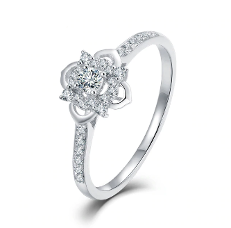 18K White Gold Flower Diamond Ring - Medusa Jewels
