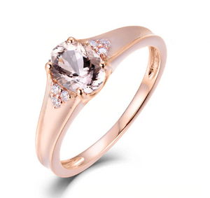 14K Rose Gold Natural Morganite Diamond Wedding Rings - Medusa Jewels