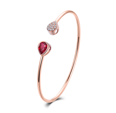 18K Rose Gold Pear Ruby Diamond Bracelet - Medusa Jewels