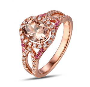 14K Rose Gold 1.42CT Oval Morganite, Diamonds & Sapphires Ring - Medusa Jewels