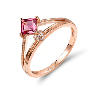 18K Rose Gold Princess Cut Tourmaline Pink Stone Ring - Medusa Jewels