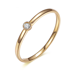 18K gold Real 0.02 CT Diamond Engagement Ring - Medusa Jewels