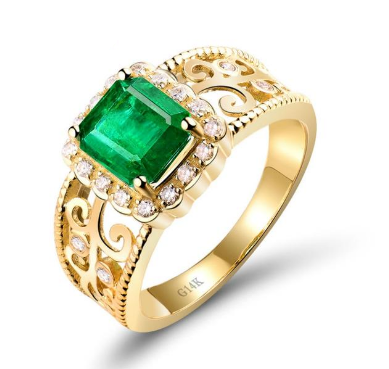 14K Yellow Gold Emerald Gemstone Ring - Medusa Jewels