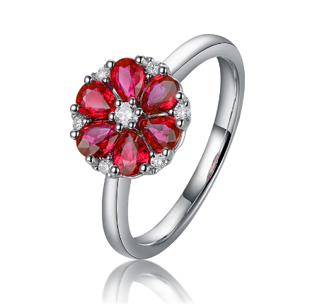 14k White Gold 0.93ct Natural Red Ruby Flower Ring - Medusa Jewels