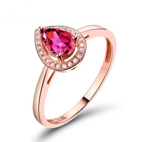 18Kt Rose Gold 0.52Ct Pear Tourmaline Ring - Medusa Jewels