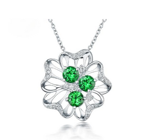 18Kt White Gold 1.2Ct Tsavorite Pendant - Medusa Jewels