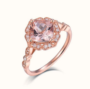 14K Rose Gold 1.66Ct  Morganite Wedding Ring - Medusa Jewels