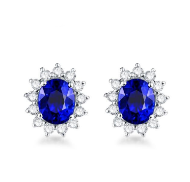 14K White Gold Blue Sapphire Earrings - Medusa Jewels
