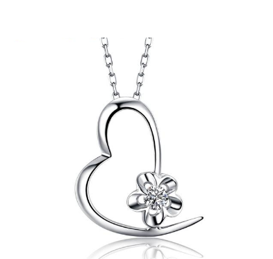 18K White Gold Heart 0.03 CT Diamond Pendant - Medusa Jewels